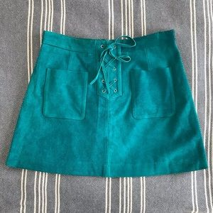 TOPSHOP teal suede mini skirt with tie Size 8